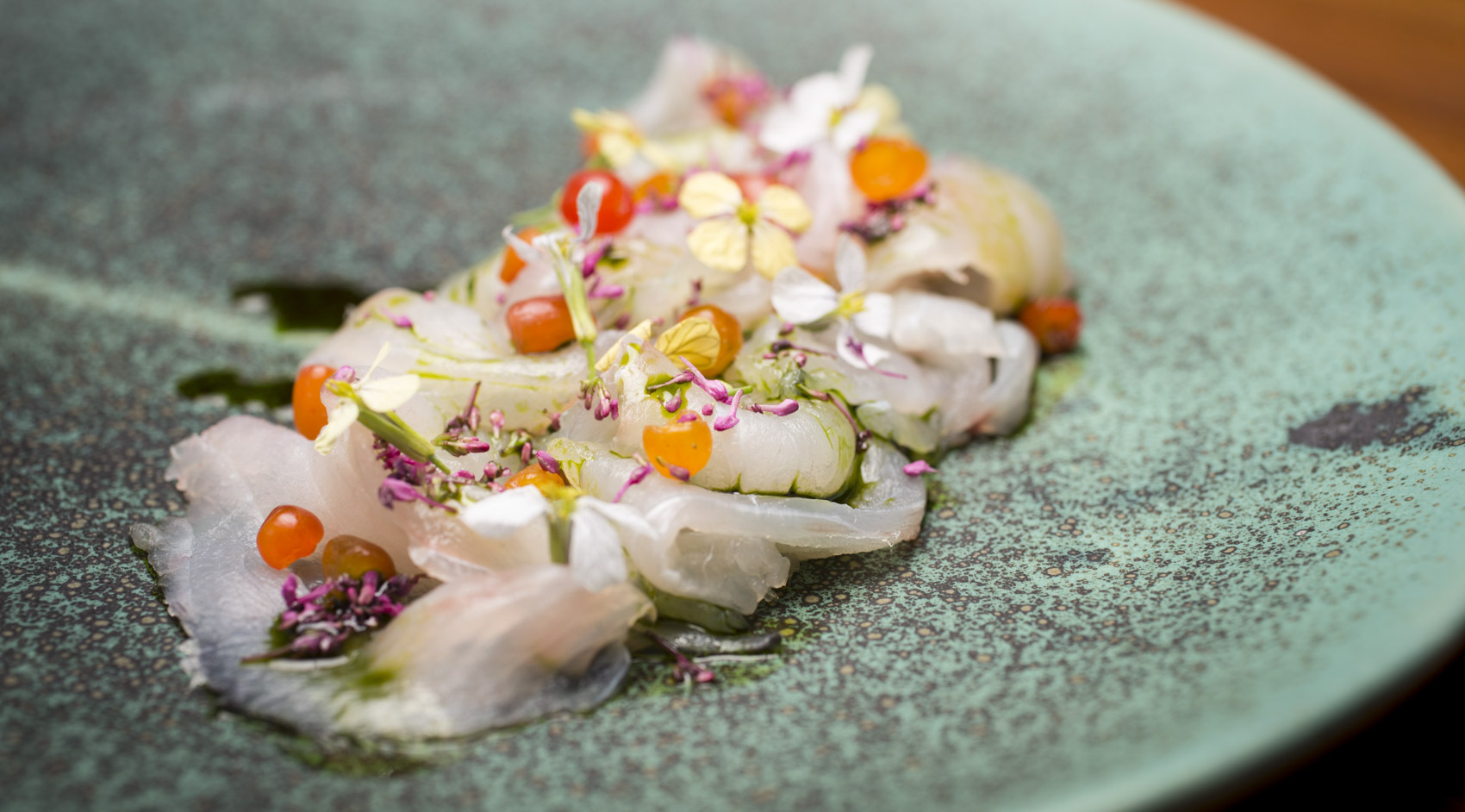 Coorong mulloway with native cherries and sea parsley, by Matthew Turner