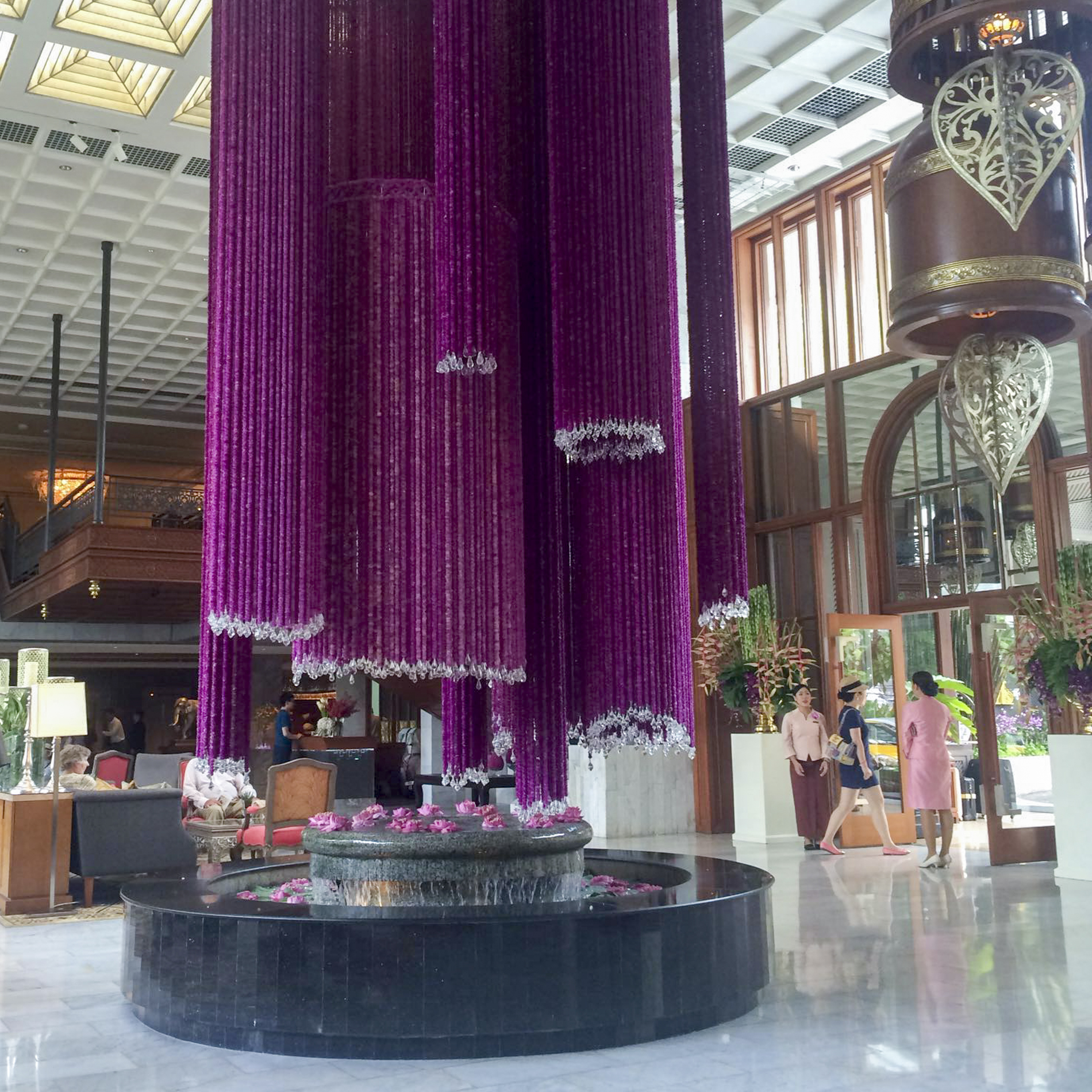 The floral installation in the lobby at the Mandarin Oriental, Bangkok