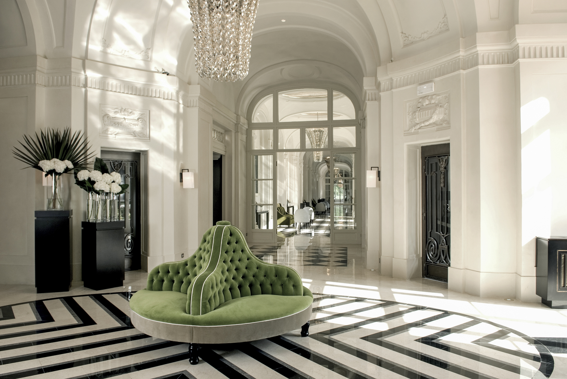 The lobby at the Trianon Palace hotel, Versailles